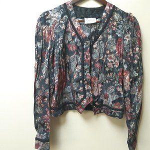vintage floral structured jacket blouse